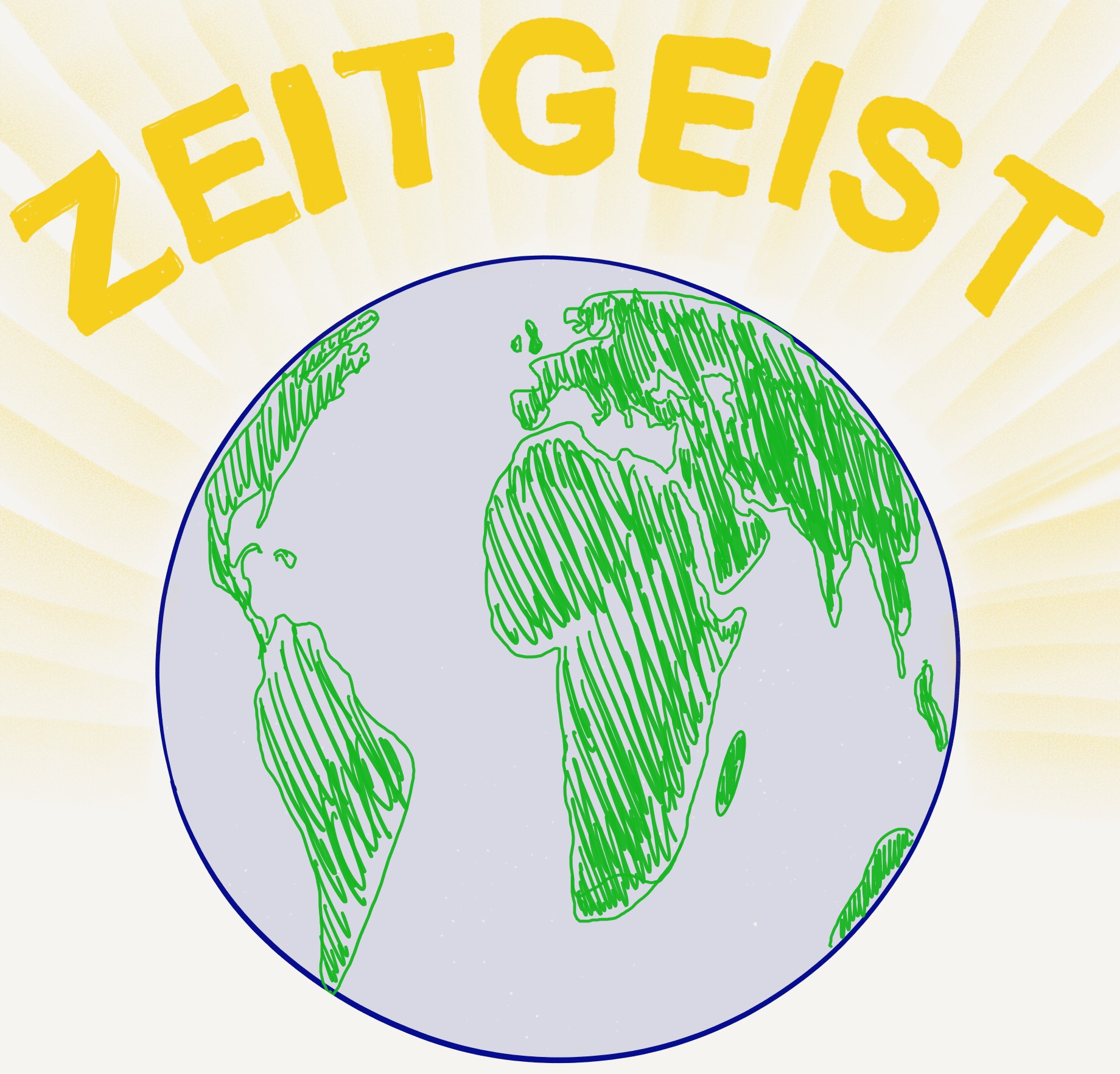 The globe with the word zeitgeist floating above