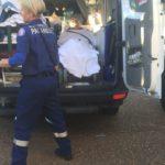 Finally loaded into the ambulance
