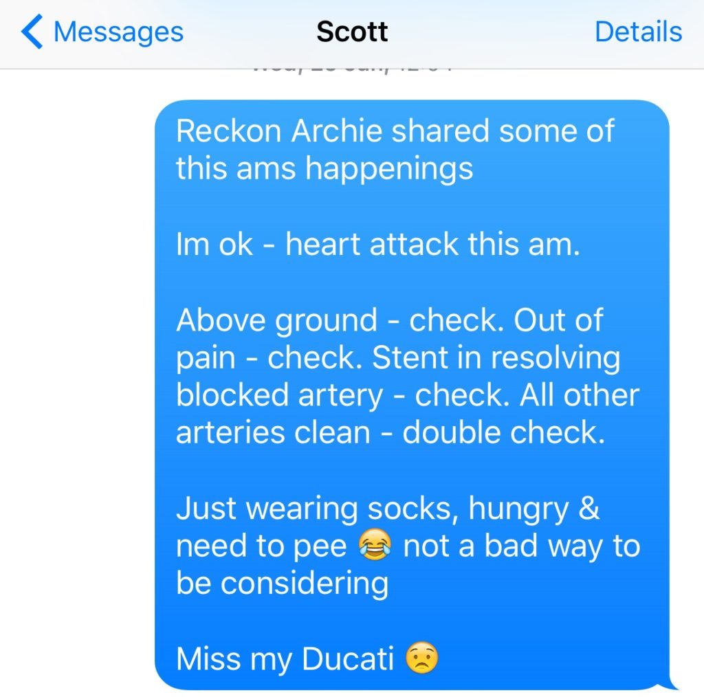 Picture of SMS sent to communicate about the heart attack